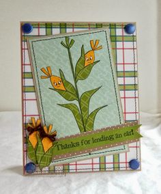"""Thanks for Lending an Ear""~ Peachy Keen Stamps challenge card"