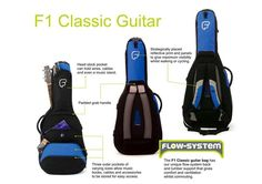 386178f264 Classical Guitar Hybrid Case Gig Bag Backpack Fusion F1 Blue Black  Polyester  Fusion