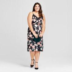 182c6be7430 A New Day Women s Plus Size Floral Velvet Slip Dress - A New Day Black  Velvet