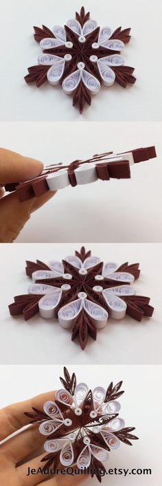 Snowflakes Burgundy White Christmas Tree Decor Winter Ornaments Gift Toppers Fillers Office Corporate Paper Quilling Quilled Handmade Art