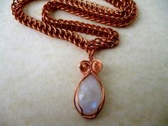Bronze moonstone necklace chainmaille necklace by Kostadinka