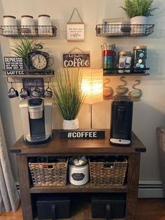 Coffee Bar Station, Home Coffee Stations, Coffee Station Kitchen, Tea Station, Coffee Bars In Kitchen, Coffee Bar Home, Coffee Bar Ideas, Dyi Coffee Bar, Coffee Nook