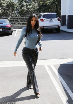 Kim Kardashian goes hell for leather in stitch-up trousers Kim Kardashian goes hell for leather in stitch-up trousers,celebs. Walk this way: Kim Kardashian enjoyed a lunch date with her grandmother Mary Jo in Calabasas. Kim Kardashian Blazer, Kim Kardashian Nails, Kim Kardashian Before, Kim Kardashian Wedding, Estilo Kardashian, Kardashian Style, Kim Kardashian Clothes, Kardashian Kollection, Yeezy Outfit
