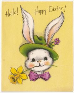 Vintage Greeting Card Easter Cute Bunny Rabbit Fedora Hat Hallmark 1950s a301