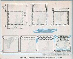 Сумочка-мешочек с прямоугольным дном