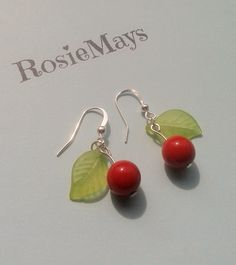 Rockabilly  Cherry Earrings,Red Charm Earrings,50s Chic,Pin Up Accessories,Summer Jewelry,Vintage Style,Costume Jewelry,Red Cherry Drops, by RosieMays on Etsy