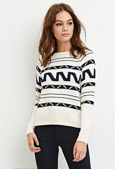 Boxy Abstract Stripe Sweater