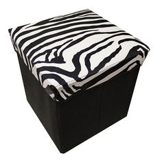 STORAGE OTTOMAN FOOTSTOOL CHAIR BOX, STORAGE BOX CONTAINER, TRENDY ZEBRA PATTERN