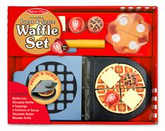 Little chefs in training will love fixing breakfast with this wooden waffle set! Just close the waffle iron and turn the dial, then top the waffle with butter, syrup, chocolate chips, and strawberries. This engaging set promotes hand-eye coordination, fine motor skills, creative expression, and imaginative play.
