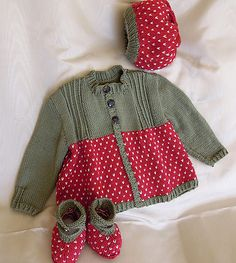 Baby strawberry jacket, boots and beret - P014 by OGE Knitwear Designs - AU$5.00 AUD