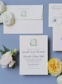 Custom Wedding Invitations by Sable and Gray - letterpress, blind emboss, watercolor wedding heraldry, custom map, modern calligraphy, dusty blue, greenery, crest design by Paige Smith,
