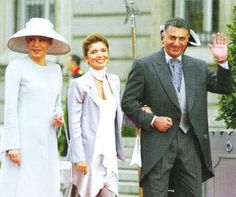 Empress Farah Pahlavi   her elder son and daughter-in-law at the wedding of Prince Felipe and Letizia in Madrid 2004