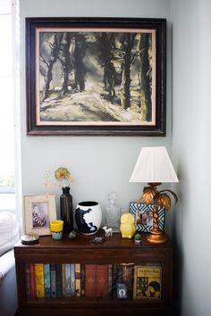 eclectic modern bohemian vintage interior decor farrow ball teresa's green globe wernicke palm tree lamp