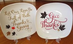 Could do holiday/season themed decorate plates above my corner cupboards. LOVE the square plates! Thanksgiving Plates, Thanksgiving Decorations, Thanksgiving Sayings, Table Decorations, Dollar Store Crafts, Dollar Stores, Charger Plate Crafts, Charger Plates, Plate Chargers