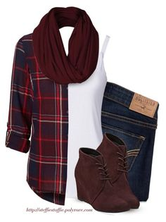 """Deep Red plaid shirt, Ankle wedges & Infinity scarf"" by steffiestaffie ❤…"