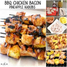 How to make BBQ Chicken Bacon Pineapple Kabobs recipe