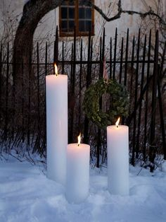 huge Christmas garden candles