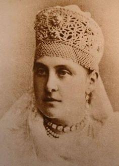 Queen Olga wearing  her Russian headpiece