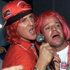 Michael Scumacher and Rubens Barrichello after winning the 2000 F1 World Championship