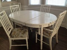 9pc White Faux Bamboo Dining 6 Chairs 2 Leaves Set by DejaVuDecors & Drexel Faux Bamboo Dining Table with Six Chairs on Chairish.com ...