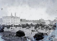 Satu Mare - Szatmarnemeti  Piata Libertatii (Deák tér), balra a Pannónia (ma Dacia) hotel.