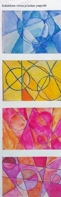 Monochromatic line and circle drawings/paintings Primary School Art, Middle School Art, Elementary Art, Art School, Art Education Lessons, Art Lessons For Kids, Art For Kids, Art Club Projects, Circle Drawing