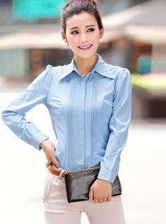 Elegant Turn-down Collar Solid Color Shirt
