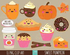 80% SALE FALL clipart, autumn clipart, sweet treats clipart, commercial use, kawaii clipart, fall graphics, cute images