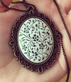 Ceramic Jewelry, Jewelry Art, Jewellery, Air Dry Clay, Tile Art, Eminem, Pocket Watch, Polymer Clay, Pendant Necklace