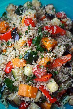 Roasted Vegetable Quinoa Salad Pesto Vinaigrette