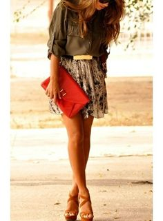 Muted Floral Skirt, Olive, and a bright accessory to add some pop