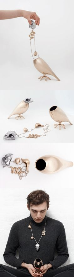 Wearable Art - transformable bird necklace // contemporary jewellery design. By Tithi Kutchamuch