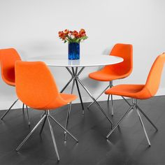 Amazon.com - Kanto ARTIKA-AORG Wool Side Chairs with Chrome Legs, Orange, Set of 4 -