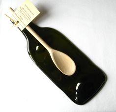 Flat bottle with wooden spoon wine bottle spoon by KilnFiredArt, £12.00