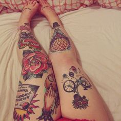 Awesome traditional leg tattoos.