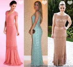 Madrinhas de casamento: Vestidos de festa de crochet