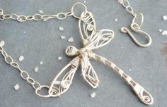 Dragonfly Silver Necklace by KUKLAstudio on Etsy