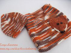 The Fox Vest and Beanie Set. 03M by tlcrochetknitting on Etsy, $28.00