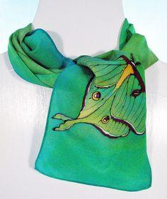 Wow! Silk Scarf- Handpainted crepe silk with a Luna Moth. $30.00, via Etsy.