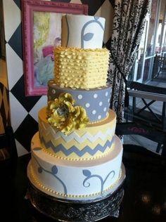 Yellow and grey wedding cake - Wedding Stuff
