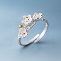 Cherry Blossom Tree Branch Ring - 925 Sterling Silver Plated - White Copper **We ship internationally! Shipping takes between two and four weeks for US. Please note all other countries can take 3 - 8