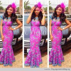 dislike colour - but like the fit of dress Nigerian Wedding ore iyawo aso ebi African Print Dresses, African Wear, African Attire, African Style, African Clothes, African Prints, African Outfits, African Design, African Beauty