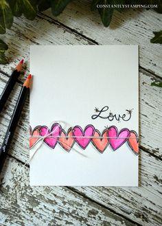 GDP070-001 - SU - Love Sparkles stamp set  - Watercolor Pencils - Masking - CAS Valentine