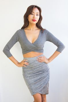 This is the perfect party skirt you will want to wear every weekend. It come in a cool grey hue with a subtle shimmery texture embedded in the material. Wear it with a crop top and a structured crop blazer.  http://modlook29.com/collections/bottoms/products/ana-pencil-skirt
