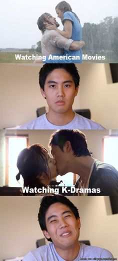 Exactly how i feel...  american dramas vs korean dramas... Heyyy!! That Coke kiss was pretty stinking cute!! ^_~