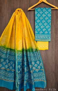 Price Rs 1600 + Shipping extra Hand block Printed chanderi silk dress materials Top and dupattas chanderi silk (2.50×2 mtrs) Bottom cotton (2.50 meters) Elegant Fashion Wear, Trendy Fashion, Indian Silk Sarees, Chanderi Silk Saree, Zardozi Embroidery, Silk Suit, Cotton Dresses, Indian Fashion, Pure Products