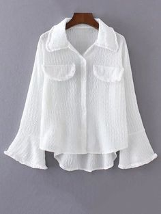 Crinkly Bell Sleeve Button Up Blouse