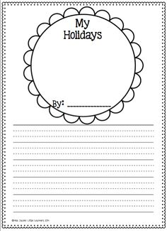 Free Writing Template My holidays