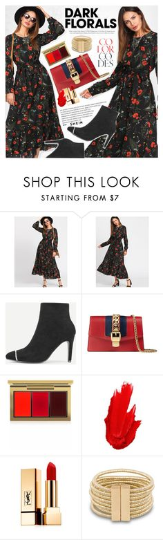 """""""Winter Prints: Dark Florals"""" by vanjazivadinovic ❤ liked on Polyvore featuring Gucci, MAC Cosmetics, Maybelline, Yves Saint Laurent, Sheinside, stripedpants, polyvoreeditorial and darkflorals"""