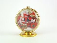 Christmas Upcycled Vintage Slava Alarm Clock RED by ContesDeFees